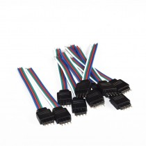 10Pcs 4 Pins 10cm Length RGB Male Flat Cable With Black Shell